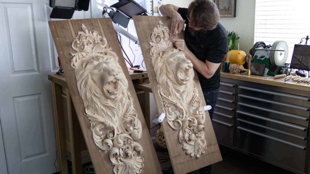 Learn how to carve Lion Head in Wood. Wood Carving School | wood carving lion | wood carving, Woodcarving, Hashemi Flowers, Foliage carving, carving leaves in wood, wood carving leaf patterns, carving leaves in wood, flower carving, carving flowers, wood carving flower patterns, wooden carved flowers, hand carved flowers, floral carving designs, Floral carving, hand carved flowers, hand carved wooden flowers, learn to carve flowers, learn to carve flowers in wood, How to carve basic flower,